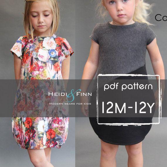 NEUE Cocoon-Kleid-PDF-Muster und Lernprogramm 12m-12y Tunika Kleid Jumper einfach Nähen