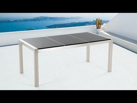 Stół czarny polerowany 180cm - kamienny blat - dzielona płyta - GROSSETO