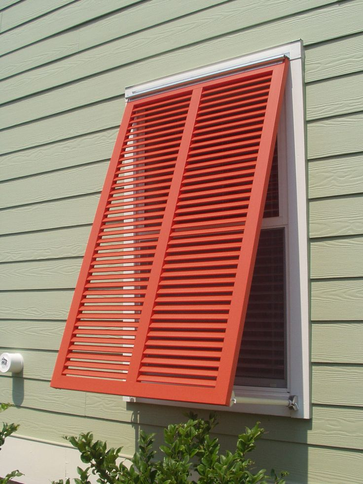 Bahama style shutters are very popular - especially in coastal areas. This shutters is entirely built from pultruded fiberglass.