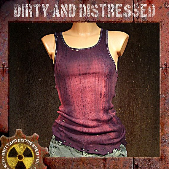 Made to Order a Womens One of a Kind Red and Ruined Dirty and Distressed Wasteland Tank Top
