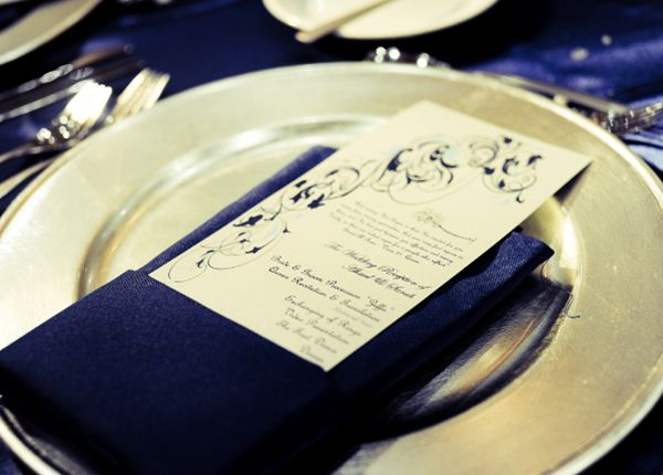 Place settings will be accented with Navy blue napkins