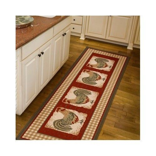kitchen floor runner rug mat rooster country home decor carpet area