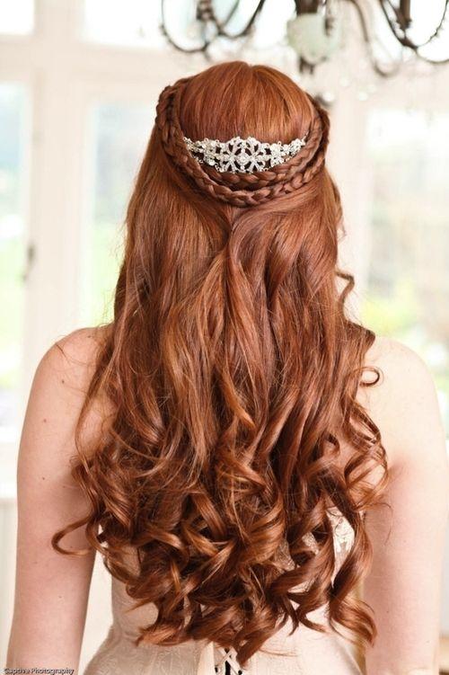 loose curls pinned back