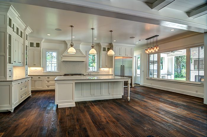 Modern Kitchen with Distressed Hardwood Floors | Empire Custom Builders. Really like but needs a little more color