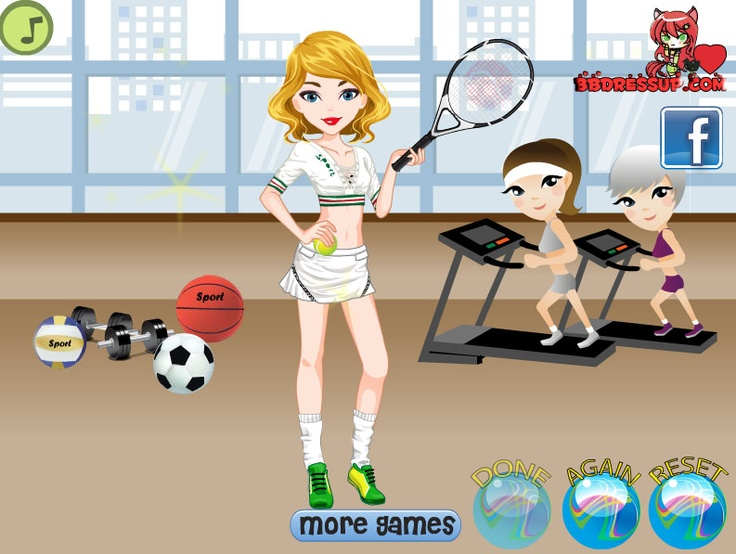 This super sporty girl is stopping by the gym everyday to exercise. Help her choose the best outfits and decide what sport she will play for the day. Have fun!!  http://www.bbdressup.com/?a=play=3572=sports-girl-dress-up