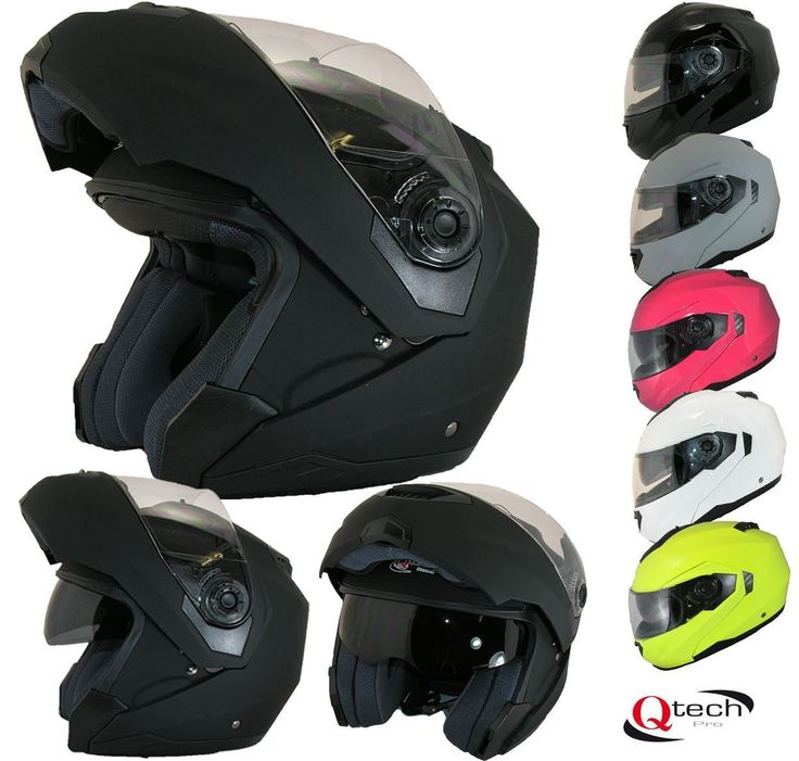 MOTORCYCLE Modular Flip up Front Helmet DOUBLE Visor Motorbike BLACK White | eBay