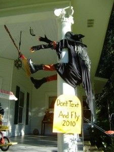 Don't text and fly (image of witch hitting post