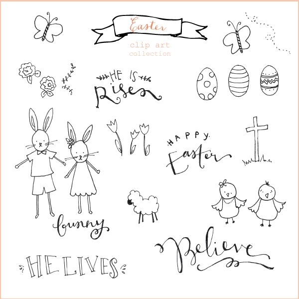 free hand-drawn easter clip art