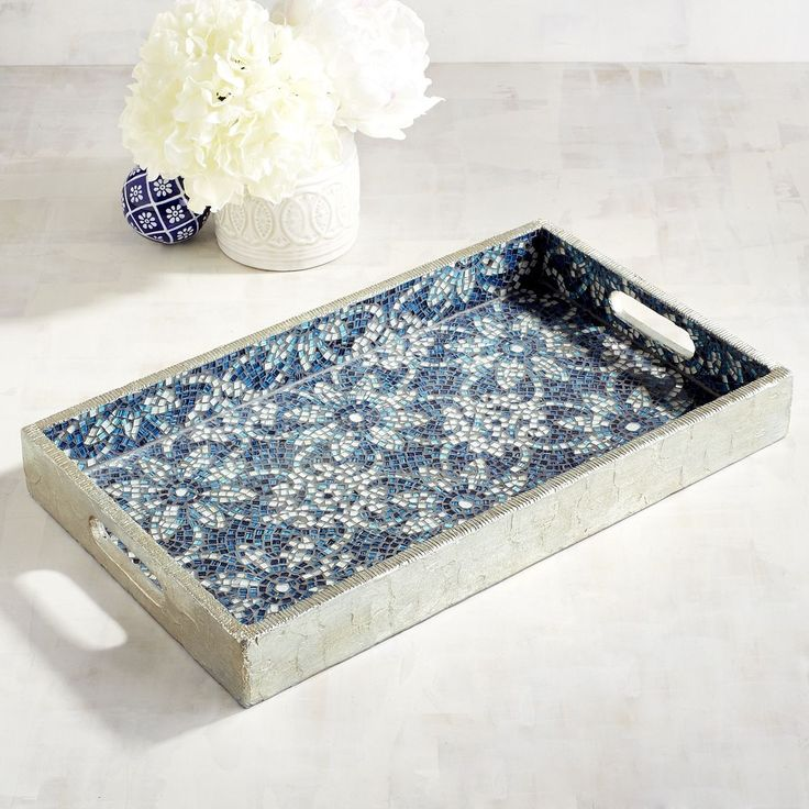 Blue Flowers Mosaic Tray | Pier 1 Imports