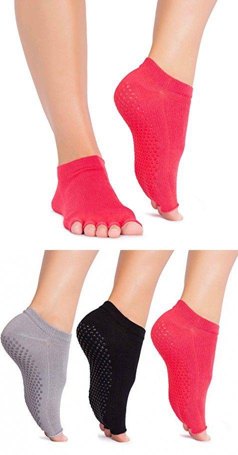 Pink Pilates Socks Open Toe Socks for Yoga Pilates Reformer 5-Toe Non Skid Gripper Socks for Women