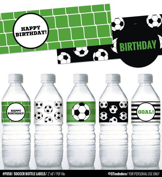 Soccer printable water bottle labels for soccer by eltendedero
