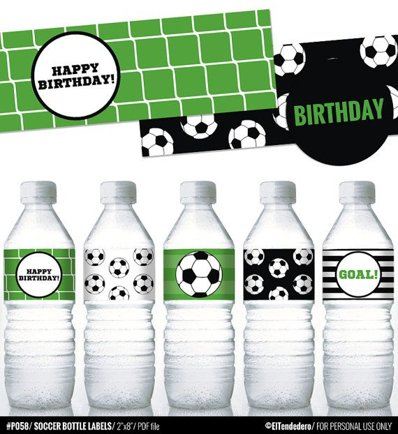 Soccer printable water bottle labels for soccer by eltendedero