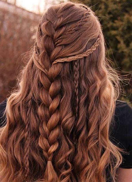 Wedding Hairstyles Half Up Half Down With Curls And Braid 2019
