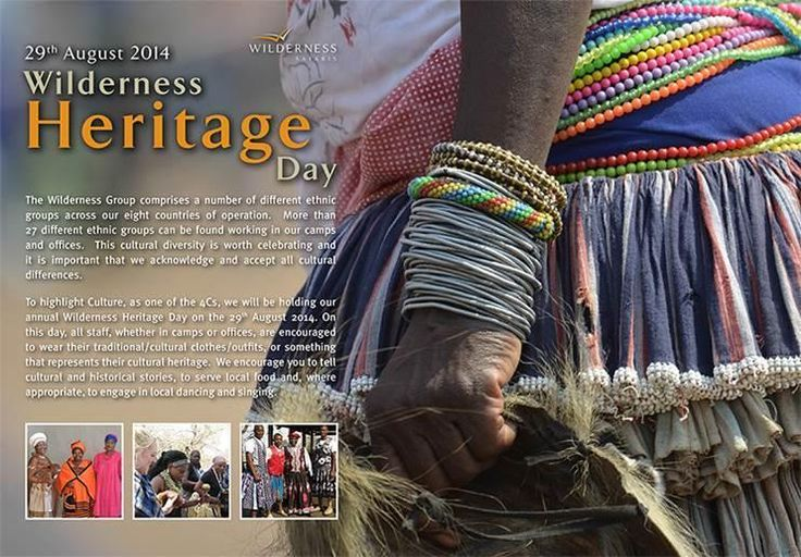 Heritage Day is an important commemoration of South Africa's diverse cultures and is celebrated every year on 24 September. At Wilderness Safaris we observe the Culture C of our 4Cs ecotourism philosophy a month earlier on 29 August. We encourage staff, whether in camps or offices, to wear traditional/cultural outfits or something that represents our cultural heritage. We are encouraged to tell cultural and historical stories, to serve local food and engage in local dancing and singing.