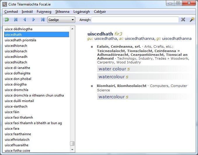 Focal.ie Irish Terminology #screenshot #dictionary #terminology #software