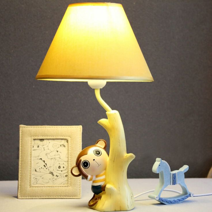 (49.81$)  Know more - http://ainxj.worlditems.win/all/product.php?id=32775628609 - 110V-220V Children Room Led Lamp Table E14 Led Desk Light Meng Monkey Switch Button Bedside Lamp Cartoon Wood Desk Lamps
