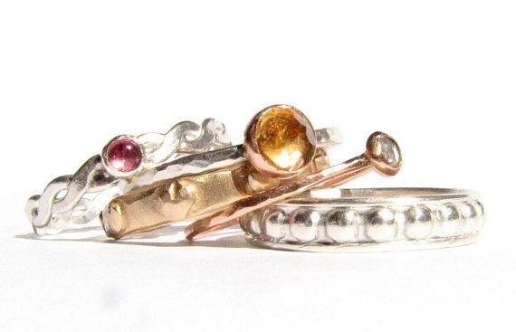 SALE! : Set van 5 gemengde metalen ringen - Rose Cut Diamond, roze toermalijn, Citrien - Solid Rose Gold, 14 k &…