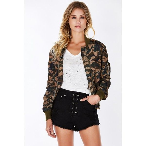 On The Lead Bomber Jacket ($25) ❤ liked on Polyvore featuring outerwear, jackets, army, army bomber jacket, flight jacket, camouflage army jacket, camo jacket and bomber jacket