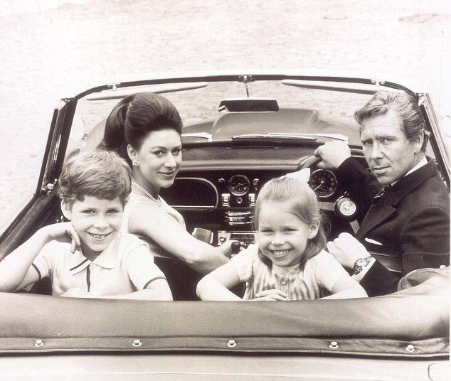 David Linley, now 54, married Serena Stanhope, daughter of the 12th Earl of Harrington, in 1993, and they have two children, Charles, 16, and Margarita, 13. Pictured: Princess Margaret and Lord Snowdon, with their children on a driving holiday in 1969