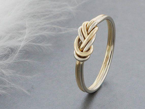 autre bague de fiançailles, 14k solide escalade noeud bague en or, attachés et habillé double figure 8 noeud