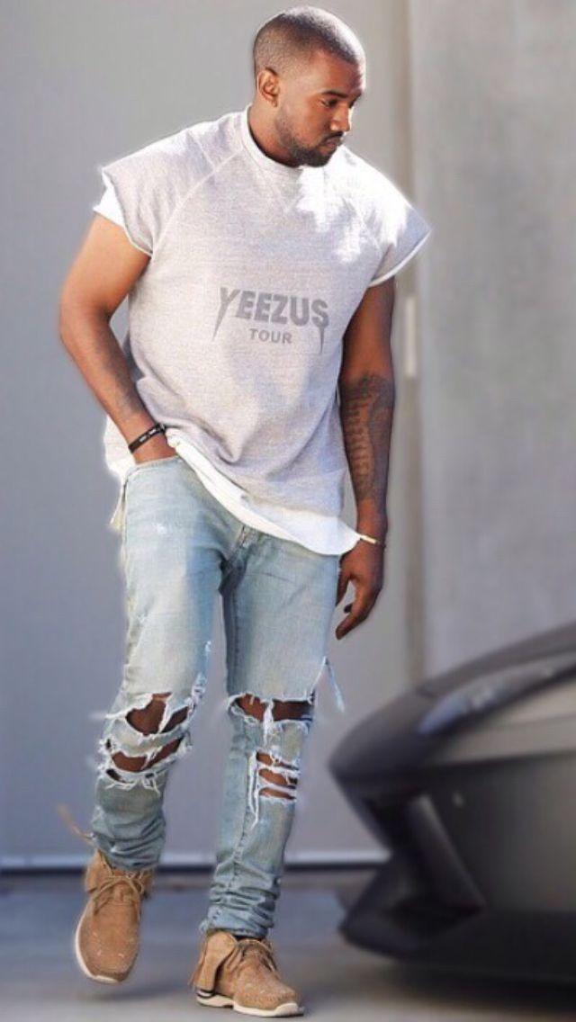 Spotted: Kanye Na Vers�o Jeans Detonad�o