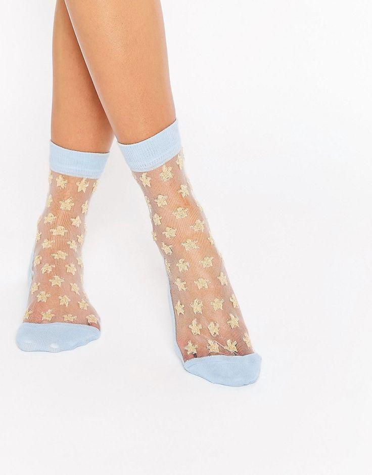 ASOS+Sheer+Star+Glitter+Ankle+Socks