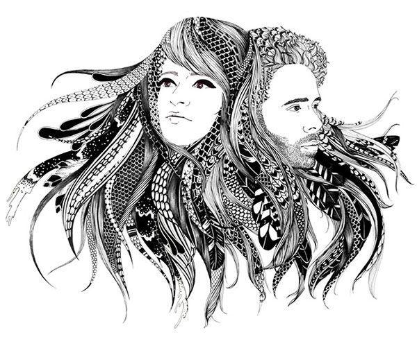 El dúo de artistas franceses Alex & Marina aplican la técnica del punteado, similar a la del tatuaje, a superficies tan dispares como paredes de casas y salas de exposiciones, calzado o cascos de moto. La pareja se basta de tinta negra y detalles estampados en oro para crear unos murales animales impresionantes.