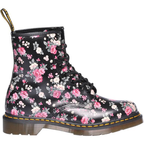 Dr. Martens Leather Lace-Up Boots ($125) ❤ liked on Polyvore featuring shoes, boots, leather boots, genuine leather lace up boots, round toe boots, leather shoes and floral shoes