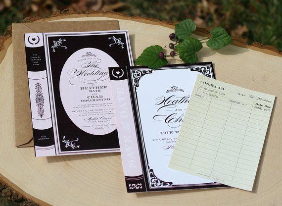 Vintage Book Wedding Invitation Printable Library By Deaandbean