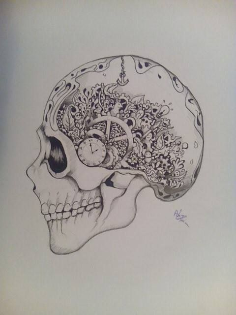 Skull doodle ...markers on A4 papper.Hope you like it