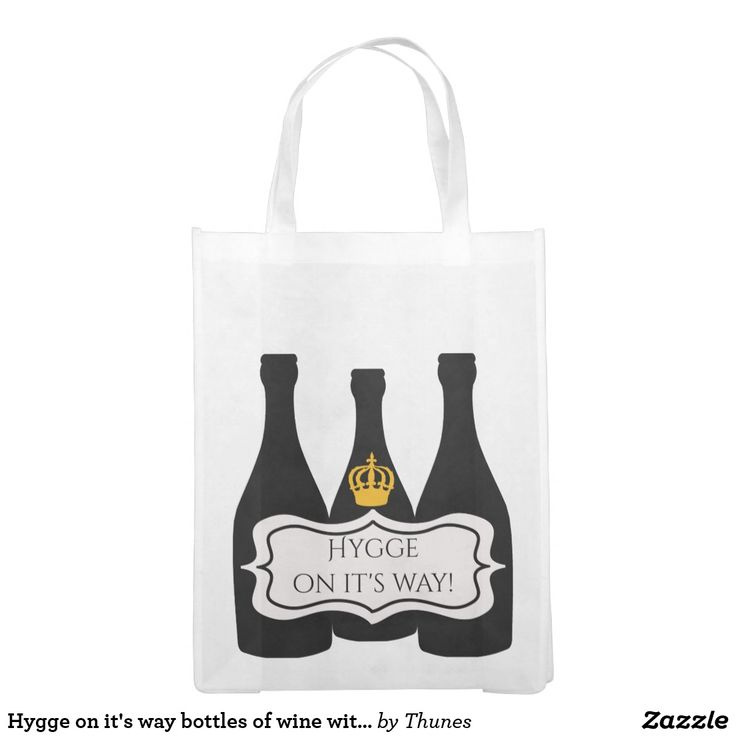 Hygge on it's way bottles of wine with a crown grocery bag