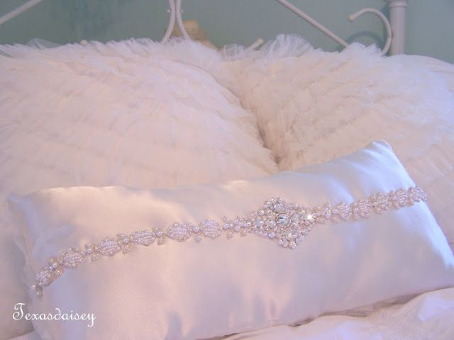 Beautiful Romantic Pillows Made From An Upcycled Wedding Dress