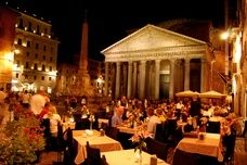 The Pantheon in Rome, Italy, at night
