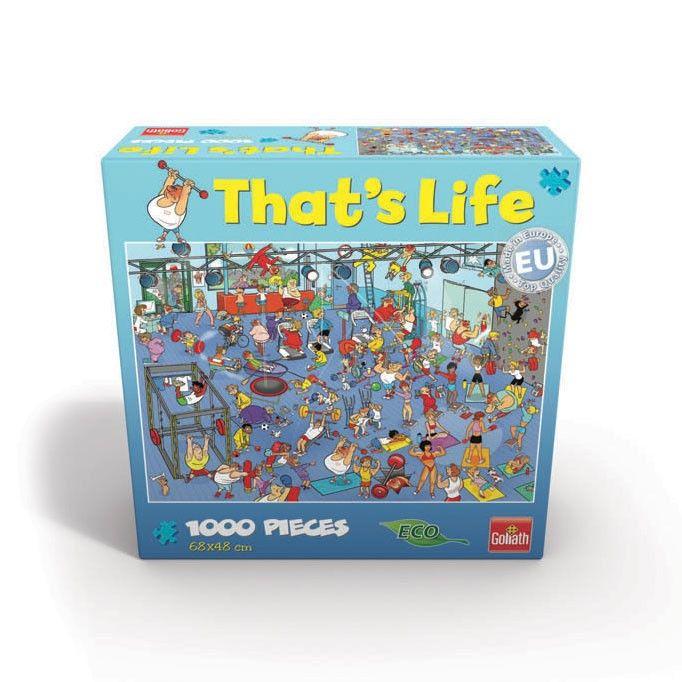 Het is een drukte van jewelste in de sportschool. Puzzel de 1000 stukjes van deze puzzel in elkaar en zie wat de mensen in de sportschool beleven. De that's life puzzels van Goliath vertonen de leukste, chaotische afbeeldingen, midden uit het leven. De Eco puzzel is van prachtige kwaliteit en geschikt voor kinderen vanaf 7 jaar.Afmeting:  68 x 48 cm - That's Life - De Sportschool, 1000st.