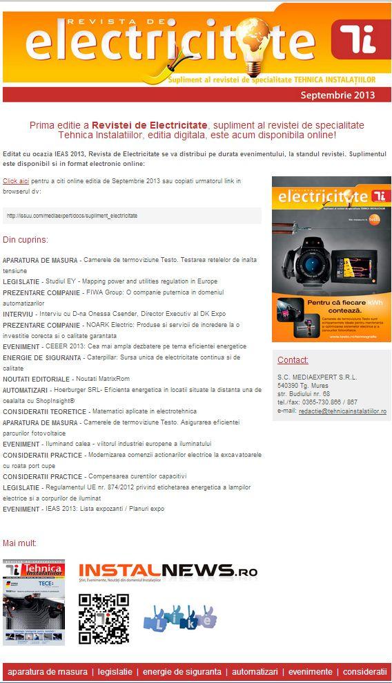 Revista de Electricitate, Supliment al revistei Tehnica Instalatiilor, editia septembrie 2013