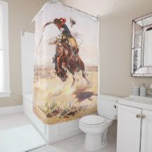 vintage western cowboy on a bucking horse shower curtain