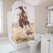 vintage western cowboy on a bucking horse shower curtain