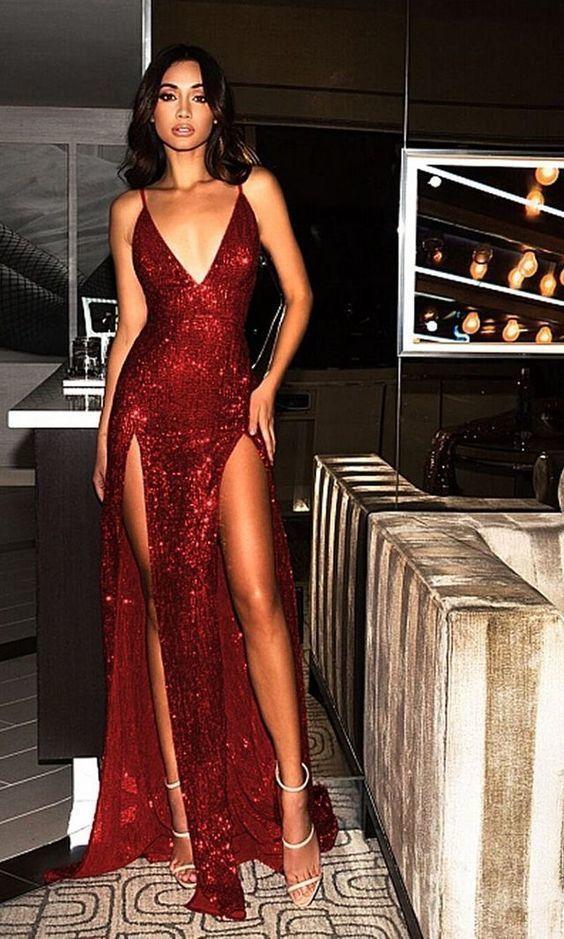 63e8458d94 Charming Burgundy V Neck Sequins Slit Backless Long Prom Dress 0902 ...