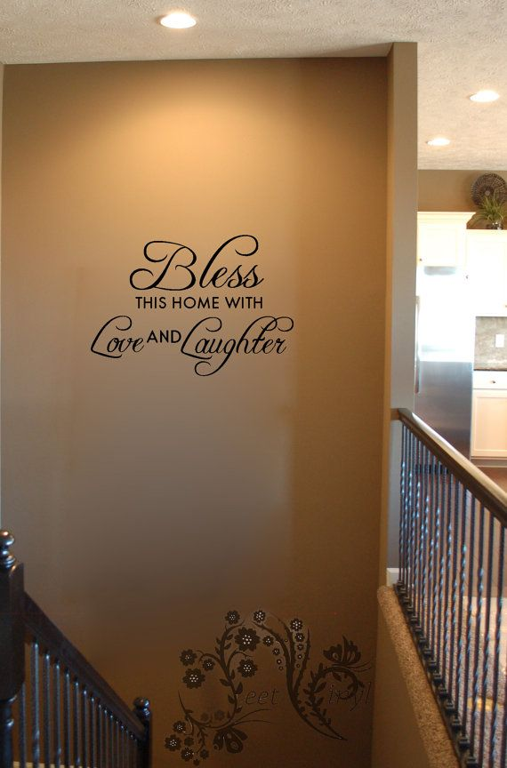 Bless this home with Love and Laughter - Wall Decals - Wall Decal - Wall Vinyl - family wall vinyl - Wall Vinyl Sayings $14.00