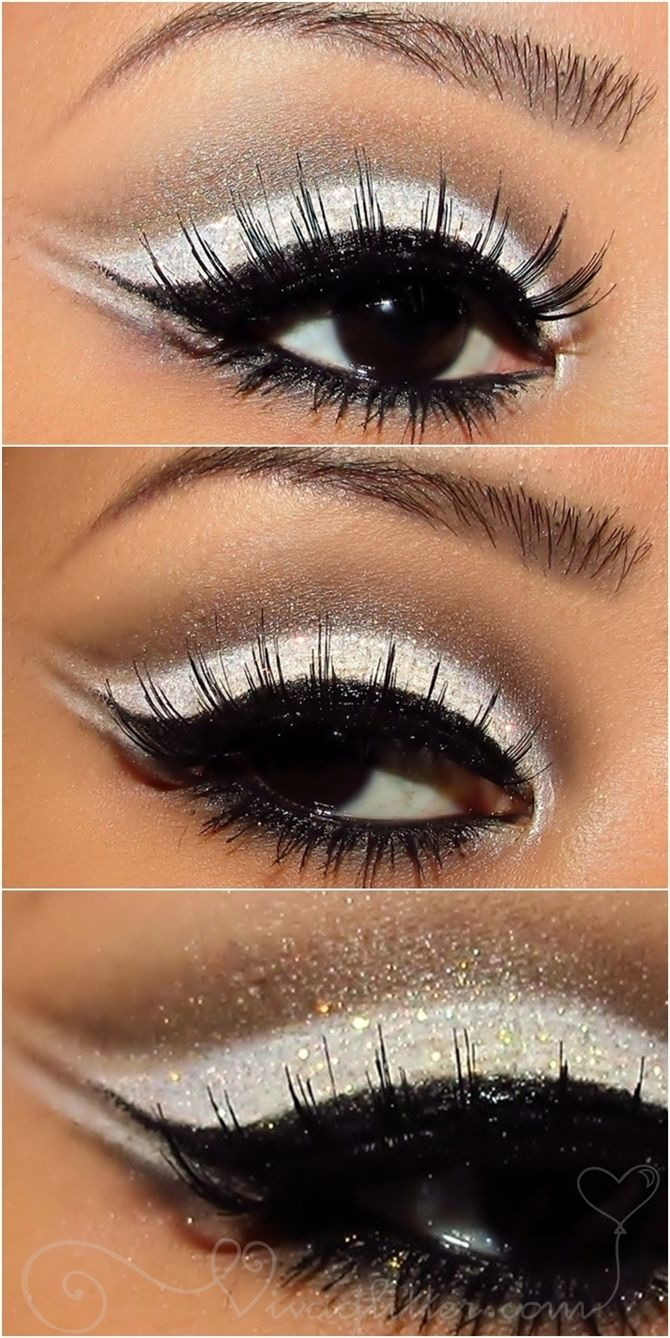 White and glitter eyeshadow.