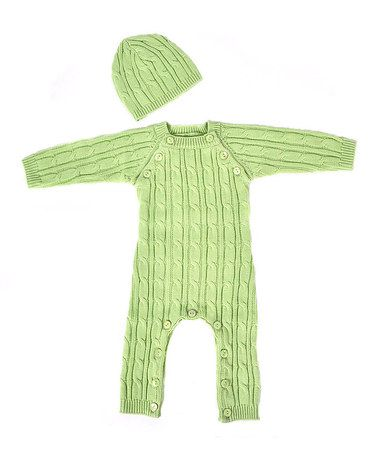 Take a look at this Green Playsuit & Beanie - Infant by Tadpoles on #zulily today!