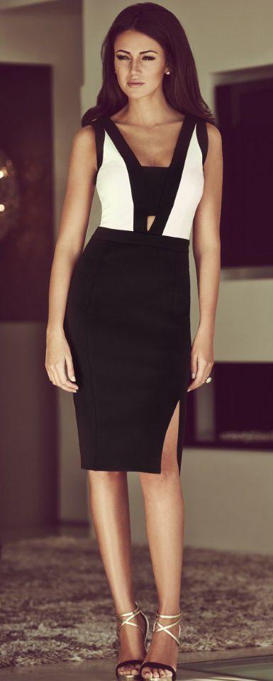 #street #fashion black and white V-Neck Pencil Dress @wachabuy