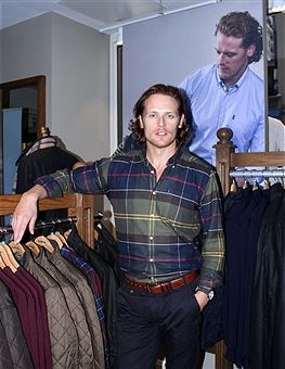 Sam Heughan appears at Barbour Madison Avenue Store on September 22, 2016 in New York City.