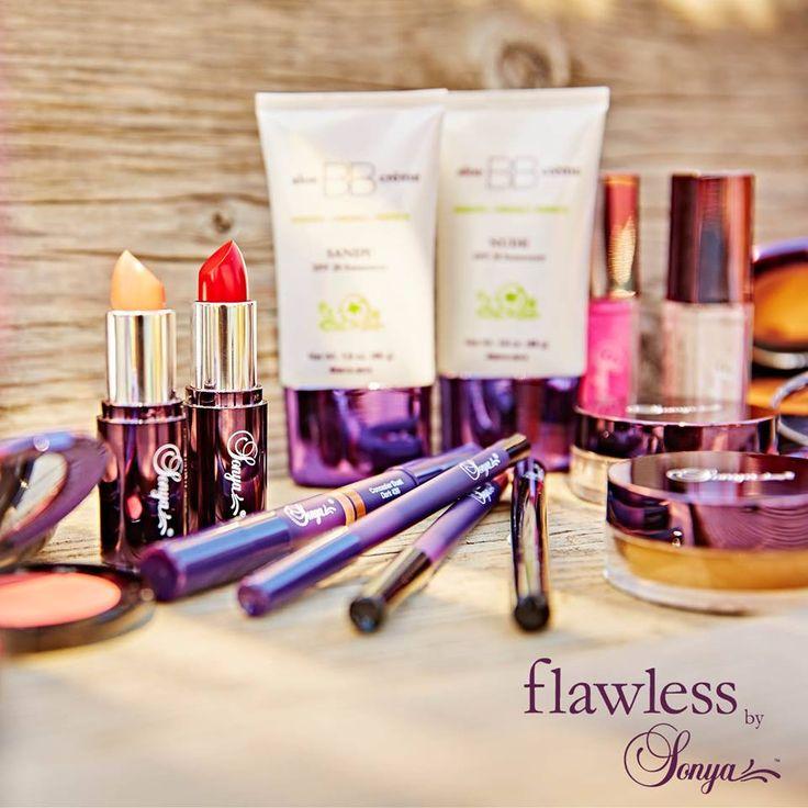 La gamme de cosmétiques Flawless By Sonya offre un grand choix de maquillage à base d'Aloe Vera.