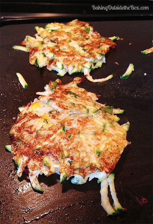 #bakingoutsidethebox | Low Carb Zucchini Patties have an extra zing when you use fresh basil, Parmesan and add a dash of sriracha sauce. Hot and on the table in 20 minutes.