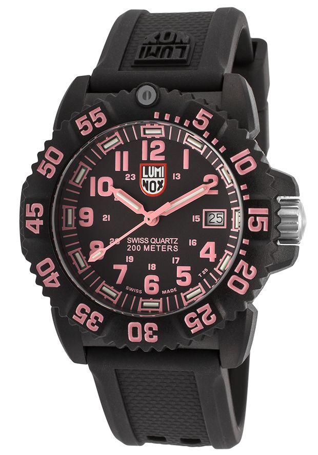 Luminox Women's Navy Seal Colormark 7050 Black Silicone Black Dial Pink Accent - Watch 7065,    #Luminox,    #7065,    #WatchesSportQuartz