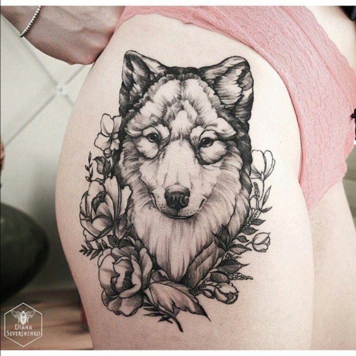 die besten 25 wolf m dchen tattoos ideen auf pinterest. Black Bedroom Furniture Sets. Home Design Ideas