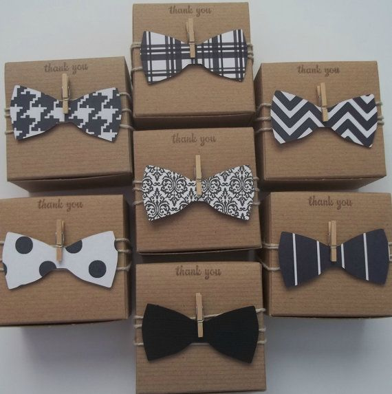 25 3x3x2 inch bow tie favor boxes  Little man baby shower black and white  bow ties