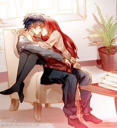 ✮ ANIME ART ✮ anime couple. . .romantic. . .love. . .sweet. . .cuddle. . .sitting on lap. . .almost kissing. . .cute. . .kawaii