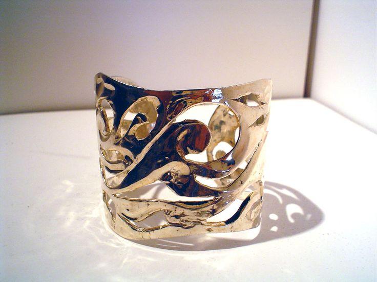 Pulsera de plata EL MAR ancha, creación Isabel Cañedo